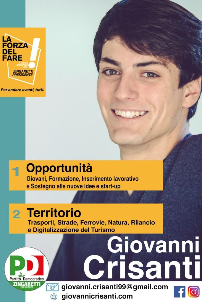 Giovanni Crisanti Candidato alle Regionali Lista PD Zingaretti